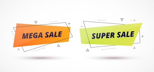 Banery sprzedażowe ustawiają geometryczne kształty z tekstem promocyjnym