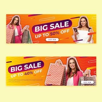 Banery sprzedażowe w stylu gradientowym ze zdjęciem