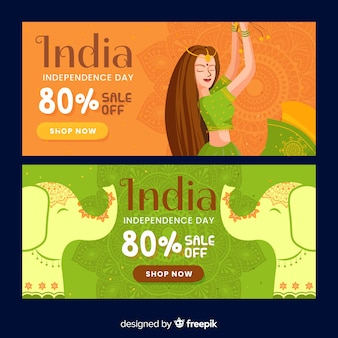 Banery sprzedaży dzień niepodległości indii