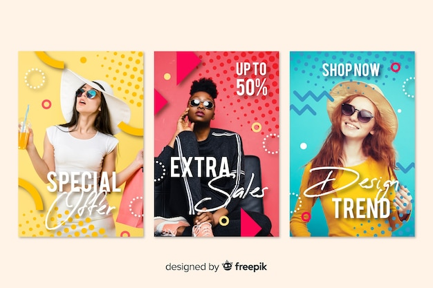 Banery sprzedaży mody ze zdjęciem