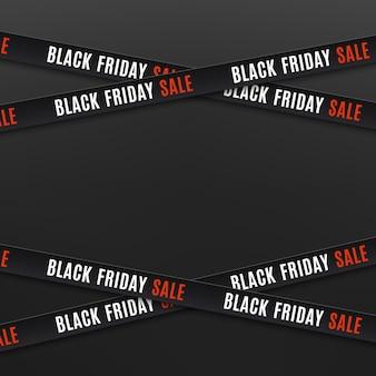 Banery sprzedaży w czarny piątek. taśmy ostrzegawcze, wstążki na czarnym tle. szablon do broszury, plakatu lub ulotki. ilustracja.