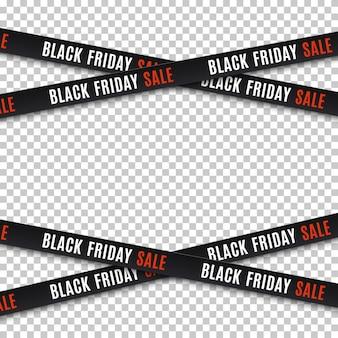 Banery sprzedaży w czarny piątek. taśmy ostrzegawcze, wstążki. szablon do broszury, plakatu lub ulotki.