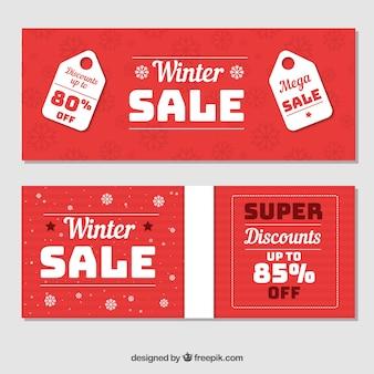 Banery Sprzedaży Zimowej Darmowych Wektorów