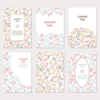Banery summertime z ikonami, mogą być używane jak karty z pozdrowieniami, ikony www