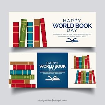 Banery świata książki dzień w realistyczny styl