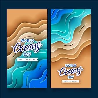 Banery światowego dnia oceanów pakowane w stylu papierowym