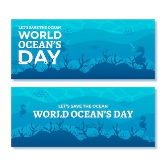 Banery światowego dnia oceanów z podwodną roślinnością