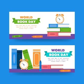 Banery światowy dzień książki w płaskiej konstrukcji