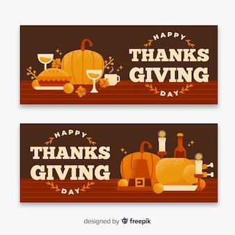 Banery święto dziękczynienia w płaskiej konstrukcji