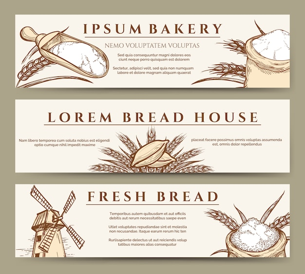 Banery świeżego chleba i piekarni