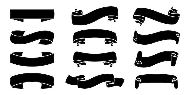 Banery sylwetka wstążki ustawić czarny kształt