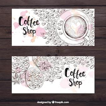Banery szkice ziaren kawy
