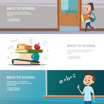 Banery szkolne. ilustracje z powrotem do postaci szkolnych