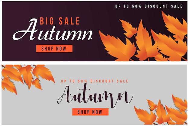 Banery tekstowe jesień sprzedaż na promocję zakupów. szablon transparentu internetowego. ilustracji wektorowych