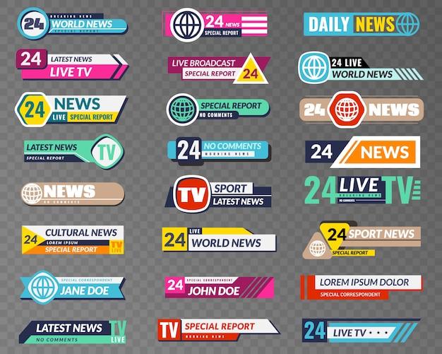 Banery telewizyjne. interfejs graficzny nadawania, tytuł dolnego paska transmisji telewizyjnej. wiadomości nagłówek ekranu kanału telewizyjnego wektor na białym tle zestaw