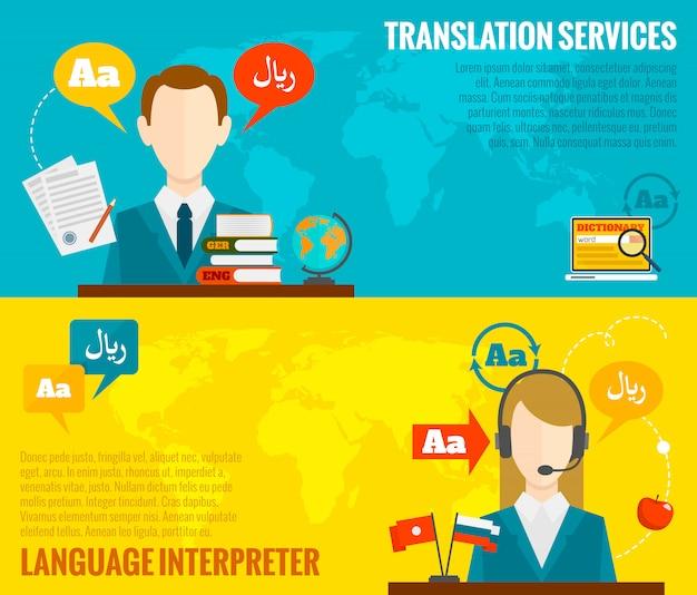 Banery tłumaczeń i słowników ustawione na płasko