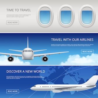Banery turystyka samolot niebo. zdjęcia lotnictwa cywilnego przedstawiające błękitne niebo i okna skrzydeł samolotów ilustracje do tekstu