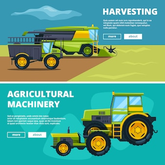 Banery ustawione z ilustracjami maszyn rolniczych. wektor gospodarstwa rolnego, ciągnika i maszyn