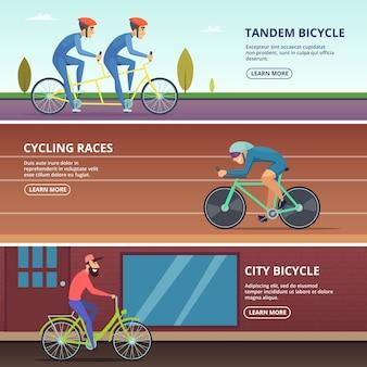 Banery ustawione z poziomymi różnymi rowerzystami