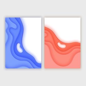 Banery w formacie a4 z abstrakcyjnym tłem 3d układ kształtów wycinanych z papieru do prezentacji biznesowych