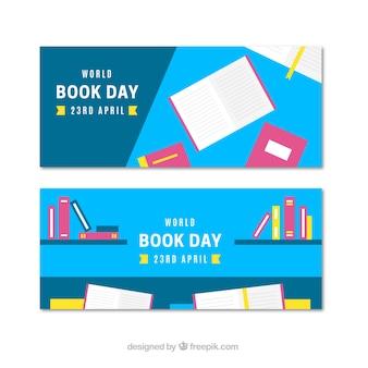 Banery w płaskiej konstrukcji na międzynarodowy dzień książki