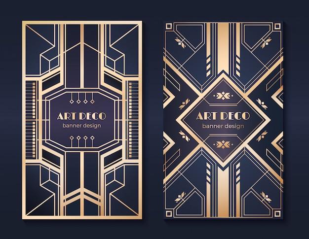 Banery w stylu art deco. ulotka z zaproszeniem na przyjęcie z lat 20. xx wieku, fantazyjny złoty ozdobny wzór, vintage ramki i wzory. zestaw ulotek w stylu art deco