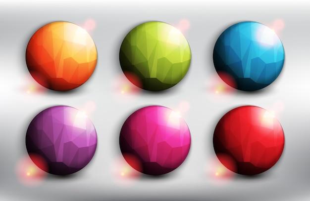 Banery w stylu low poly w 6 różnych kolorach. okrągłe przyciski internetowe. pojedynczo na białym tle.