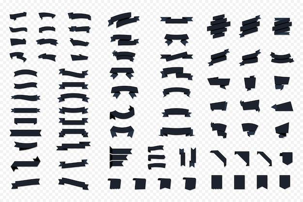 Banery wektor wstążka. zestaw wstążki. pusta czarna etykieta metka z ceną zakładka na białym tle wektor zestaw. zestaw taśm