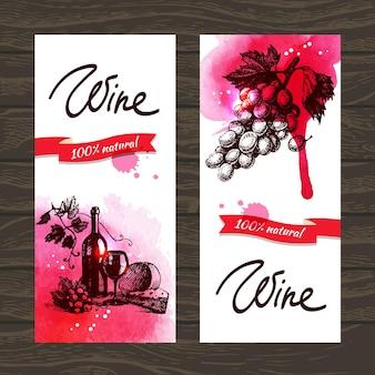 Banery wina tło. ręcznie rysowane ilustracje akwareli