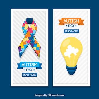 Banery wstążki i żarówka na dzień autyzmu
