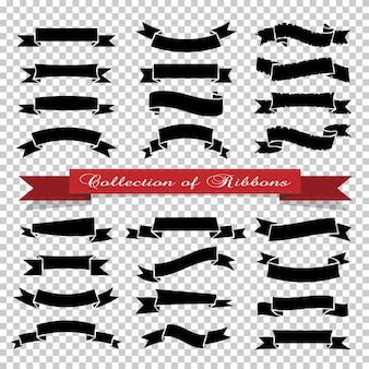 Banery wstążki na przezroczystym tle, kolor czarny