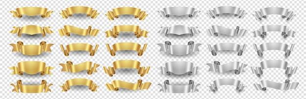 Banery wstążkowe. zestaw złote srebrne wstążki. metalowe banery na przezroczystym tle. ilustracja wstążka złota i srebra dekoracji projektowania