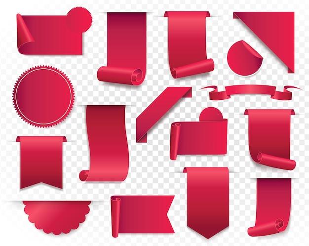 Banery z czerwoną wstążką. strona internetowa naklejki, kolekcja odznak na białym tle. ilustracja.