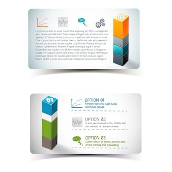 Banery z elementami infografiki, w tym ikony informacyjne i kolumna z form geometrycznych na białym tle