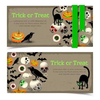 Banery z halloweenowymi elementami zwierząt i tradycyjnym wyrażeniem zielone wstążki na szarym tle z teksturą na białym tle