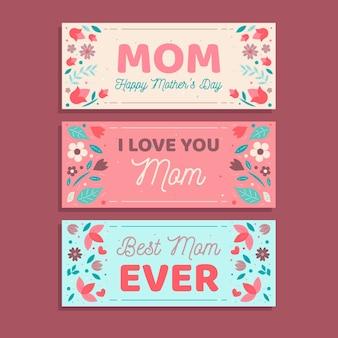 Banery z koncepcja dzień matki