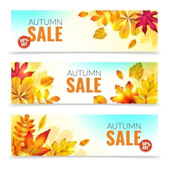 Banery z liści jesienią. jesienne oferty rabatowe z realistycznymi czerwonymi i pomarańczowymi liśćmi. kolorowy liść sezonowe jesienne sprzedaż abstrakcyjne szablony tagów