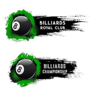 Banery z mistrzostwami w piłce bilardowej, basenie lub klubie snookera