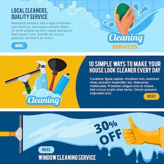 Banery z motywem usługi sprzątania