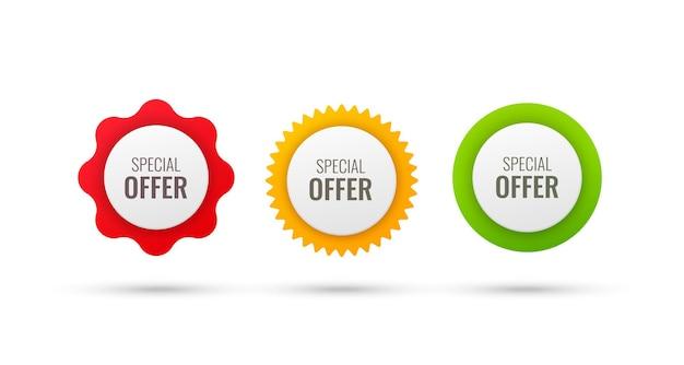 Banery z ofertą specjalną na białych okrągłych odznakach oferują tagi