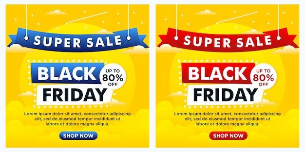 Banery z okazji czarnego piątku, post w mediach społecznościowych i szablon w kolorze żółtym