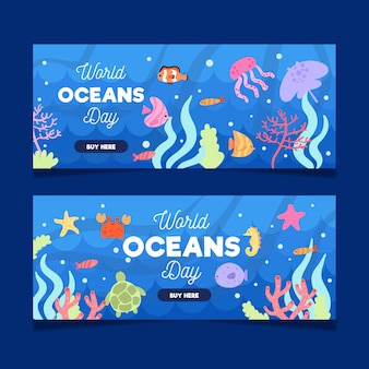 Banery z okazji światowego dnia oceanu z rybami i stworzeniami morskimi