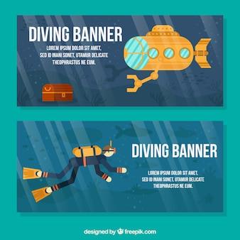 Banery z scuba nurek i żółtej łodzi podwodnej