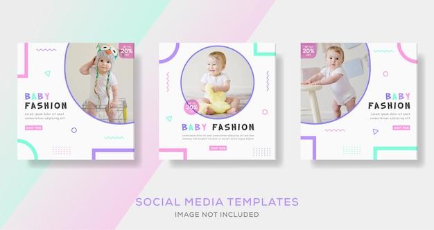 Banery z ubraniami dla niemowląt publikowane w mediach społecznościowych.