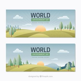 Banery z uroczy krajobrazy na świat środowiska dzień