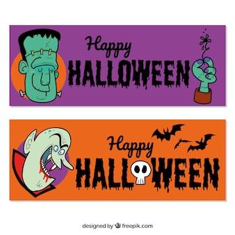Banery ze śmiesznym wyciągnąć rękę halloween znaków