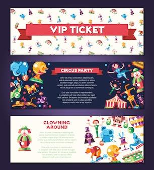 Banery zestaw z nowoczesny, płaski projekt ikony cyrku i karnawału oraz elementy infografiki