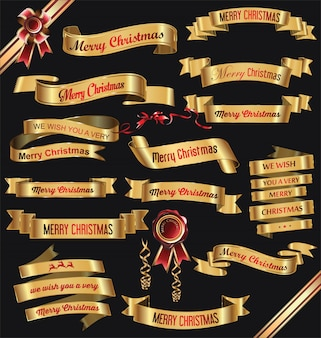 Banery złote wstążki wesołych świąt