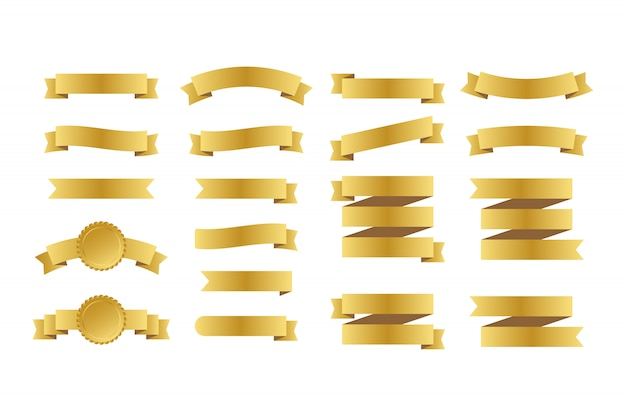 Banery złote wstążki. zestaw wstążek. ilustracja.