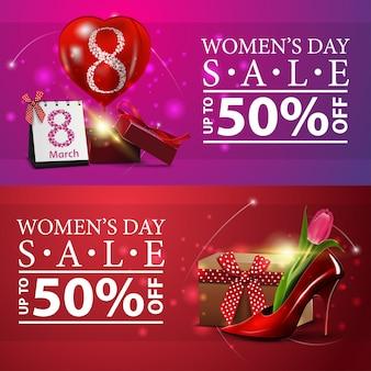Banery zniżki dzień kobiet z darami